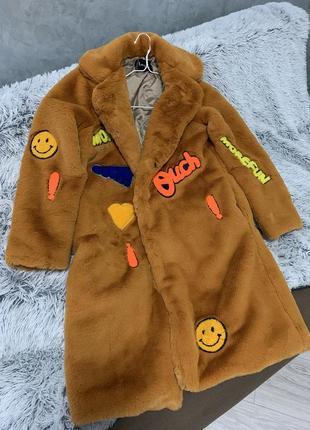 Шуба эко мех искусственная пальто горчичная нашивки вышивка кролик рекс1 фото
