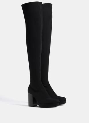 Высокие сапоги чулки, ботфорты 25,5 см.сапожки bershka 39 р.