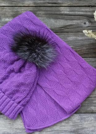 Зимний комплект, шапка с помноном и шарф