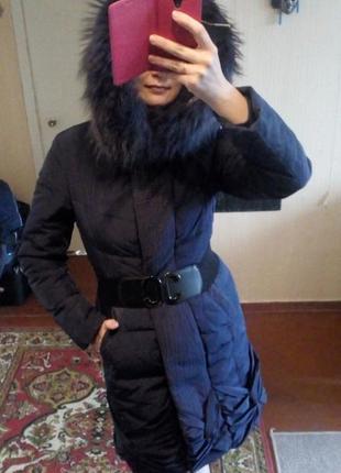 Пуховик, теплая куртка, парка, фирменная, синяя, фиолетовая clasna