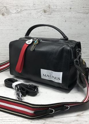 Женская кожаная сумка черная красная серая чорна шкіряна сумка3