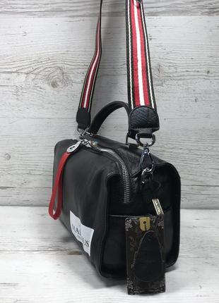 Женская кожаная сумка черная красная серая чорна шкіряна сумка4