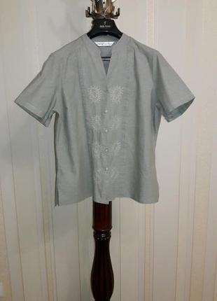 Фирменная натуральная блузка рубашка с вышивкой