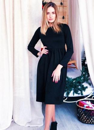 Стильное чёрное тёплое платье миди, размер s, m,l
