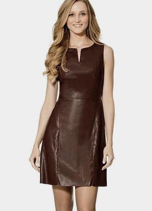 Кожаное платье без рукавов сарафан под кожу xs-s