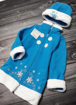 Новогодний костюм снегурочки,  пальто+шапочка, 1-2-3-4 года