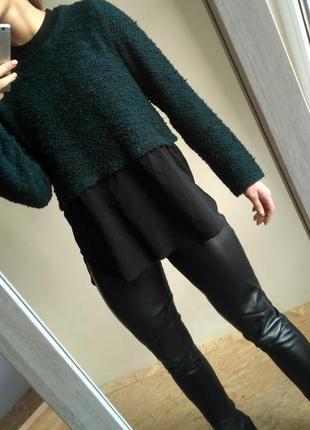 Очень стильный удлинённый свитер изумрудного цвета  от next