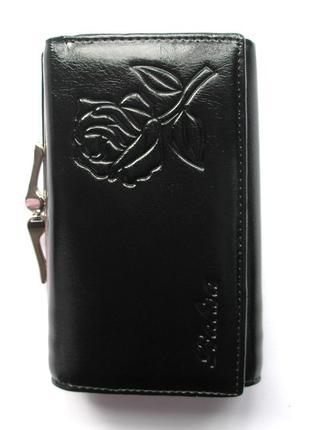 Кожаный кошелек портмоне черная роза, 100% натуральная кожа, есть доставка бесплатно