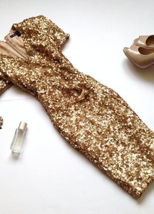 Золотистое платье в пайетки french connection