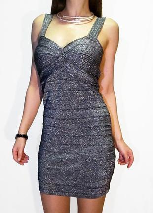 New look!!! бандажное космическое платье с металлическим  волокном