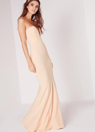 Роскошное вечернее платье-рыбка шлейфом бандо missguided a1192