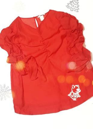 Яркая красная блуза h&m l/xl