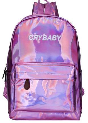 Рюкзак сиреневый розовый лаковый голографический crybaby принт надпись унисекс блестящий