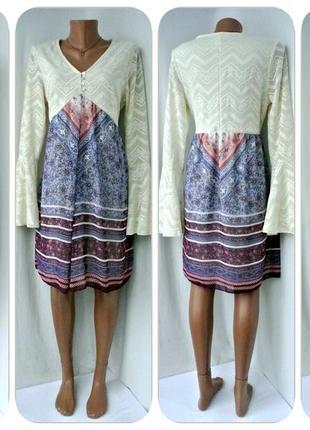 Оригинальное платье bodyflirt с кружевным верхом.размер uk m/eur 40-42.