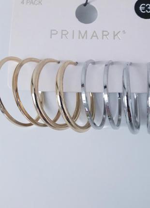 Набор 4 пары серые кольца под золото серебро