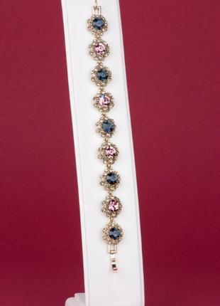 Браслет ювелирная бижутерия с розовыми и синими цирконами