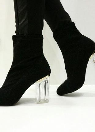 Стильные женские ботинки на прозрачном каблуке р. 36-40