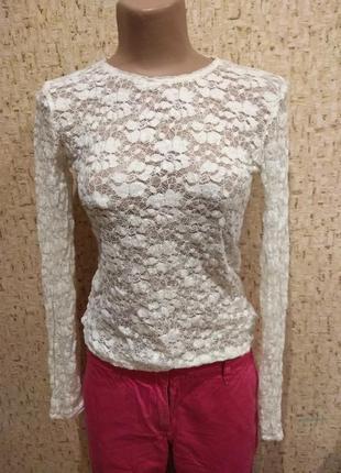 Гипюровая блуза zara 46 размер