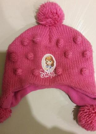 Малиновая  шапка для девочки disney принцесса софия