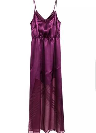 Красивое летнее платье, сарафан сливового цвета от h&m с полупрозрачными вставками.