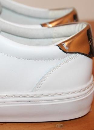 Натуральные кожаные туфли на шнурках sixty seven. белые мокасины с заостренным носом4