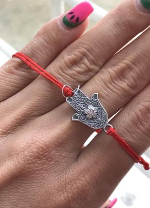 Красная нить серебряная рука фатимы хамса 4077 черненая