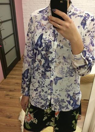 Рубашка с бабочками большого размера