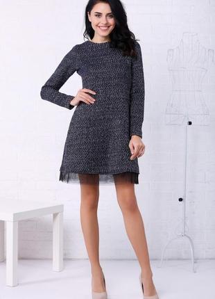 Теплое меланжевое платье garne