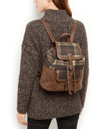 Стильный коричневый рюкзак в клетку от new look,кож. зам и текстиль. новый!