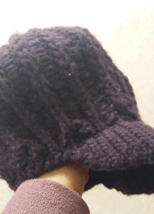 Брендовая теплая шапка-берет clockhouse