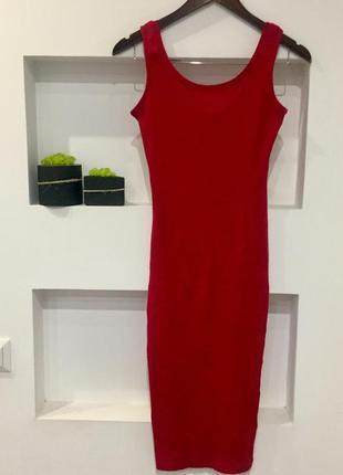 Вишневое платье майка по фигуре в рубчик, миди, макси, аккуратное, ткань хорошо тянется