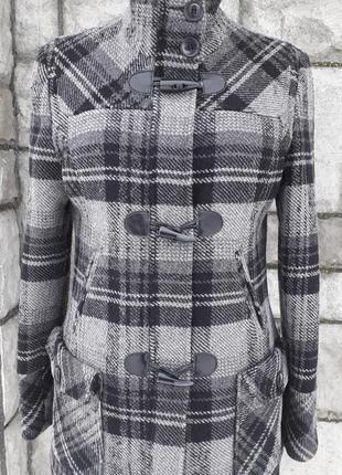Фірмове шерстяне пальто дафлкот в актуальну клітинку (street one)