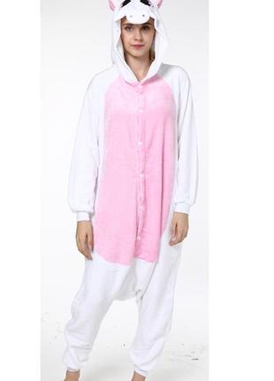 Пижама кигуруми единорог белый с розовым животом и крыльями рост 150-155 и  160- 66c50aeda07b6