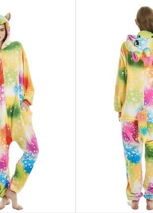 Пижама единорог разноцветный со звездами на молнии кигуруми разные размеры 2f459437381d4