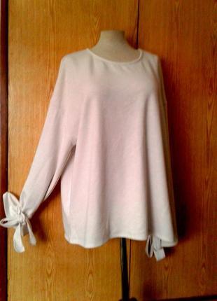 Белая блузка с звязками на рукавах, 4xl- 5xl .2 фото