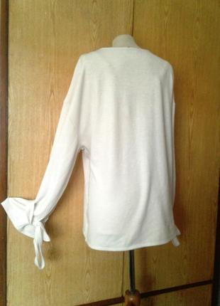 Белая блузка с звязками на рукавах, 4xl- 5xl .3 фото