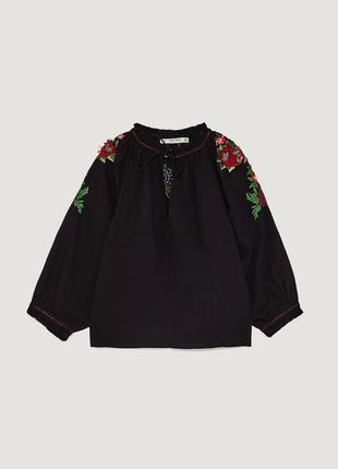 Блуза черная с вышивкой zara