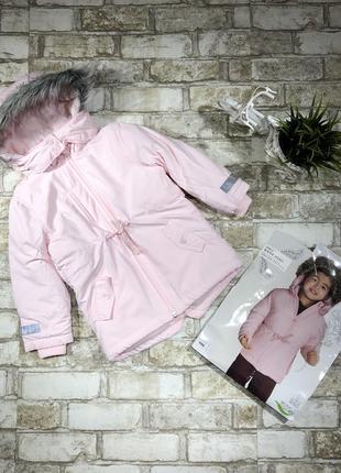 Тёплая длинная куртка демисезон, парка евро зима на девочку, с капюшоном флисовая