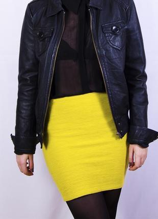 Лимонная  обтягивающая мини-юбка, желтая юбка в рубчик miss selfridge