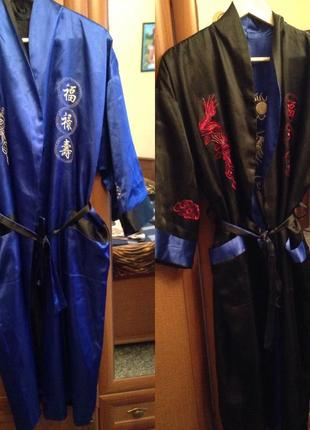 Шыкарный атласный двухсторонний халат с драконом с вишивкой