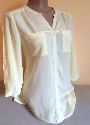 Світла жовта рубашка блузка c&a на 3/4 рукав yessica
