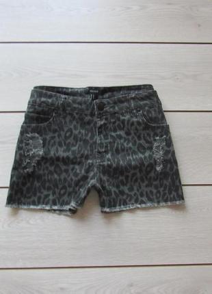 Новогодние акции!шорты с завышенной талией рваные леопардовые от forever 21 р. l/xl