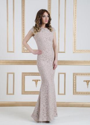 Вечернее силуэтное платье в пол, пудрового цвета enna levoni р. s/m