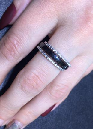 Серебряное кольцо керамика