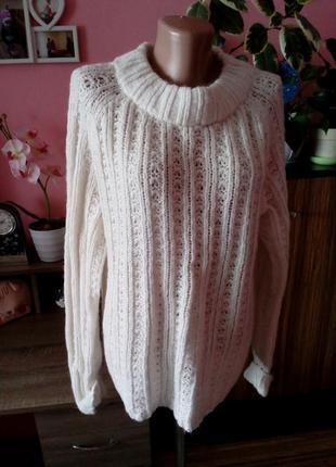 Шерстянной свитер крупная вязка в косы с натуральной шерстью альпаки tu,размер 16(44)-xxl