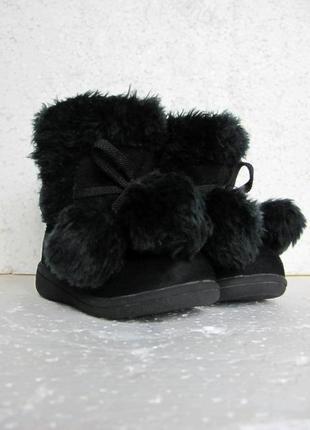Joe fresh черные сапоги ботики для девочки на липучках деми легкие р.20-21 13 см