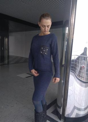 Теплый и очень стильный вязаный комплект-юбка+кофта с жемчужинами)