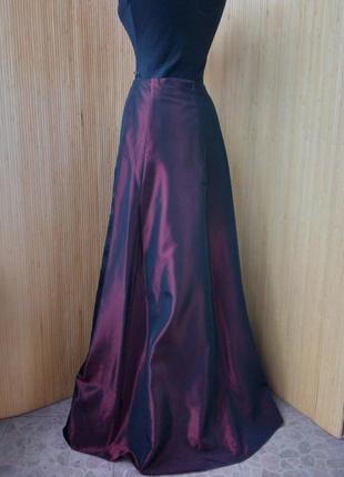 Длинная атласная юбка  your sixth sense c&a  цвета марсала3