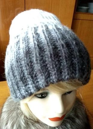 Пушистая вязаная женская зимняя шапка такори лопата ручной работы1
