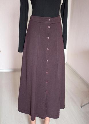 Коричневая теплая юбка kookai 36 размер шоколадная шерстяная юбка на пуговицах